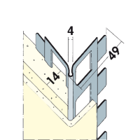Vorschau: Kantenprofil Innen- und Außenputz Alu 14 mm