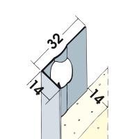Vorschau: Putzabschlussprofil Innen- und Außenputz Alu 14 mm